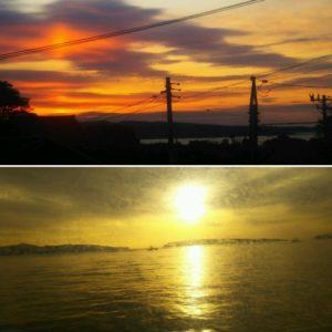 1月7日の田代島大泊の朝日