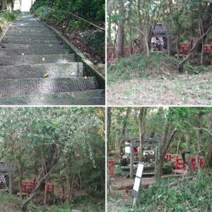猫神社環境整備、旧鹿嶋神社の階段修復中)