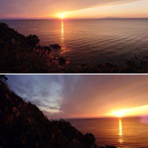 田代島の美しい夜景、日帰りの田代島訪問では見ることはできませんね。