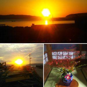 田代島の美しい夕焼けです。そして「古民家カフェ福猫」内のおもてなしの気遣い。