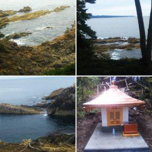 三石埼の海岸と三石観音様の新しい祠