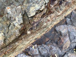 化石が出る地層の近くにある特徴的な地層
